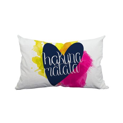 Hakuna Matata Love Textual Lumbar Pillow Color: Pink