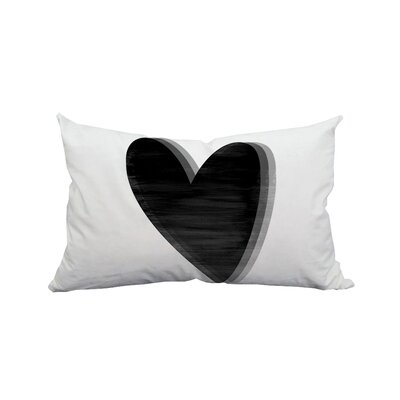 Love Heart Watercolor Graphic Polyester Lumbar Pillow Color: Black