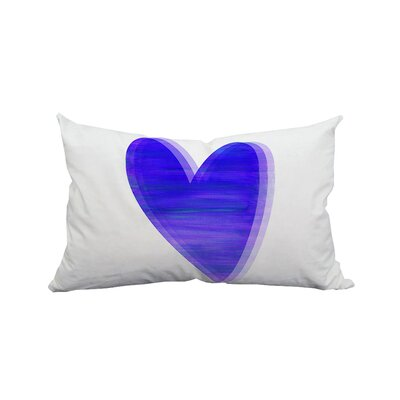 Love Heart Watercolor Graphic Polyester Lumbar Pillow Color: Purple