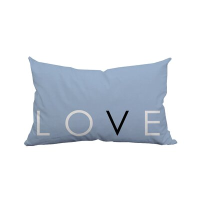 Love Solid Textual Polyester Lumbar Pillow Color: Satin Blue