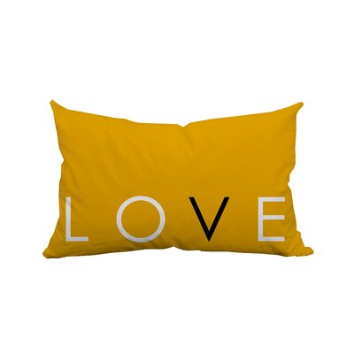 Love Solid Textual Polyester Lumbar Pillow Color: Yellow