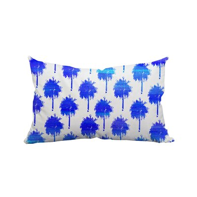 Mini Trinidad Palm Trees Polyester Lumbar Pillow Color: Blue