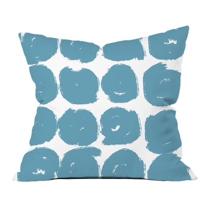 Sketchy Brush Strokes Polka Dot Polyester Throw Pillow Size: 20 H x 20 W x 2 D, Color: Blue