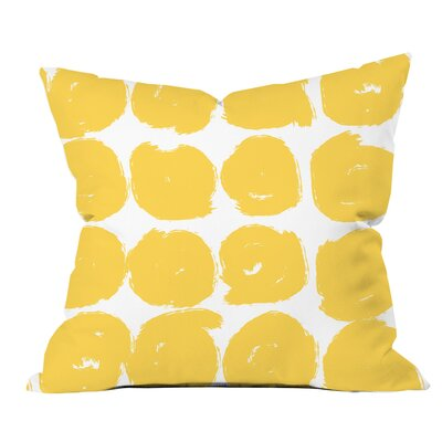 Sketchy Brush Strokes Polka Dot Polyester Throw Pillow Size: 20 H x 20 W x 2 D, Color: Yellow