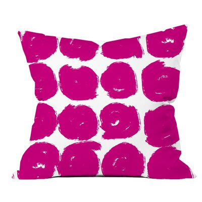 Sketchy Brush Strokes Polka Dot Polyester Throw Pillow Size: 18 H x 18 W x 2 D, Color: Pink