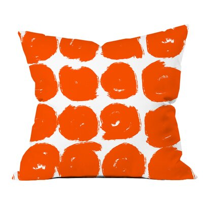Sketchy Brush Strokes Polka Dot Polyester Throw Pillow Size: 20 H x 20 W x 2 D, Color: Orange