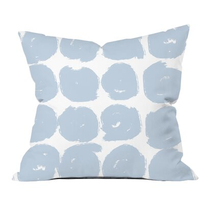 Sketchy Brush Strokes Polka Dot Polyester Throw Pillow Size: 18 H x 18 W x 2 D, Color: Satin Blue