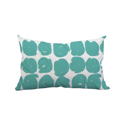 Sketchy Brush Strokes Polka Dot Polyester Lumbar Pillow Color: Teal