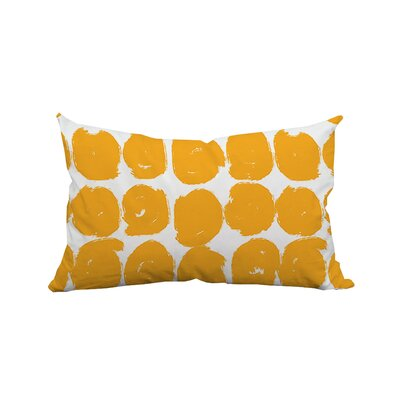 Sketchy Brush Strokes Polka Dot Polyester Lumbar Pillow Color: Yellow