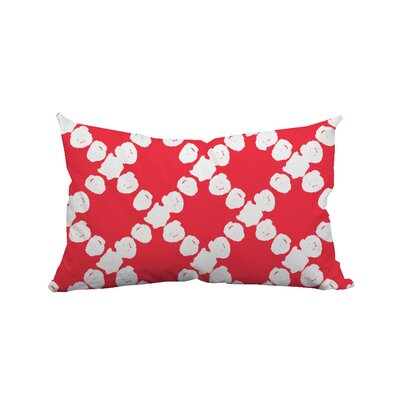 Round the Way Polka Dot Lumbar Polyester Pillow Color: Red