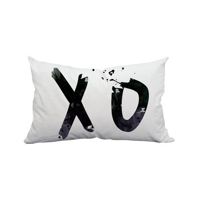 Hugs and Kisses XO Textual Polyester Lumbar Pillow
