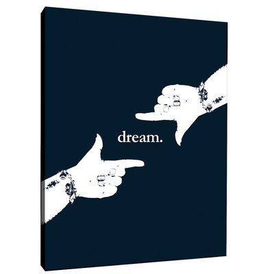 Dream Motivational Graphic Art on Wrapped Canvas in Navy Size: 10