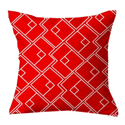 Chain Geometric Throw Pillow Size: 16 H x 16 W x 4 D, Color: Red-White