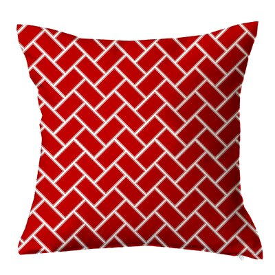 Subway Tile Throw Pillow Size: 16 H x 16 W x 4 D, Color: Red