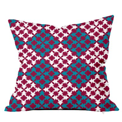 Moroccan Tile Throw Pillow Size: 16 H x 16 W x 4 D, Color: Burgandy-Blue