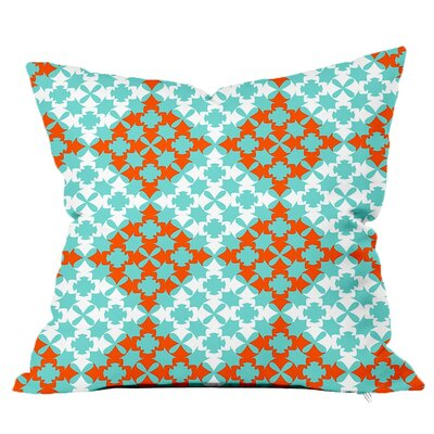 Moroccan Tile Throw Pillow Size: 16 H x 16 W x 4 D, Color: Blue-Orange