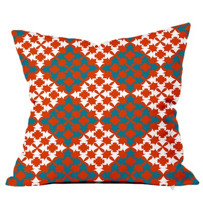 Moroccan Tile Throw Pillow Size: 18 H x 18 W x 4 D, Color: Orange-Blue