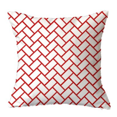 Subway Tile Throw Pillow Size: 18 H x 18 W x 4 D, Color: Red-Inverse