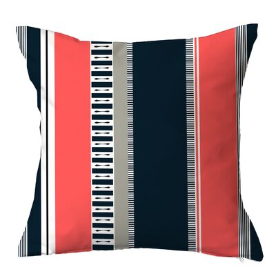 Rails n Stripes Throw Pillow Size: 18 H x 18 W x 4 D, Color: Coral