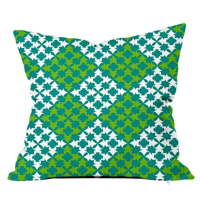 Moroccan Tile Throw Pillow Size: 16 H x 16 W x 4 D, Color: Teal-Green