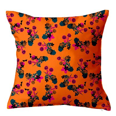 Betty Floral Throw Pillow Size: 16 H x 16 W x 4 D, Color: Orange