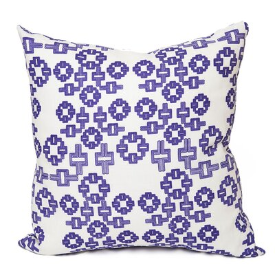 AhMaze Geometric Throw Pillow Size: 18 H x 18 W x 4 D, Color: Purple-White