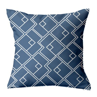 Chain Geometric Throw Pillow Size: 16 H x 16 W x 4 D, Color: Navy-White