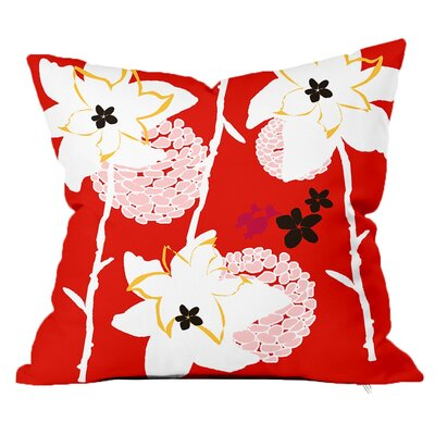 Garden Floral Throw Pillow Size: 16 H x 16 W x 4 D, Color: Orange