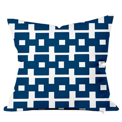 All Boxed In Throw Pillow Size: 16 H x 16 W x 4 D, Color: Navy