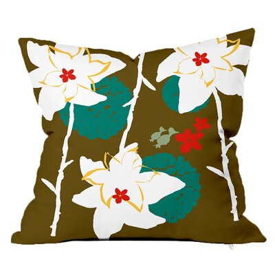 Garden Floral Throw Pillow Size: 18 H x 18 W x 4 D, Color: Olive