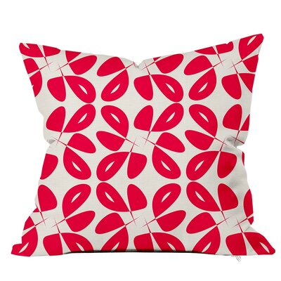 Leaves Floral Throw Pillow Size: 18 H x 18 W x 4 D