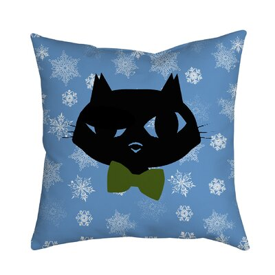 Holiday Treasures Sly Christmas Cat Throw Pillow Size: 18 H x 18 W x 2 D