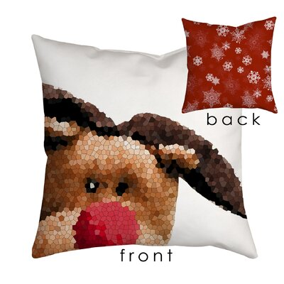 Holiday Treasures Peek A Boo Rudolph Reindeer Throw Pillow Size: 20 H x 20 W