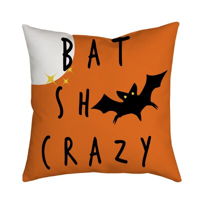Holiday Treasures Scary Night Bat Textual Throw Pillow