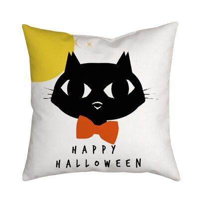 Holiday Treasures Bowtie Cat Textual Throw Pillow