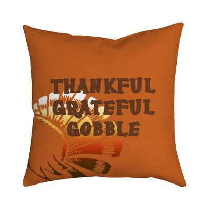 Holiday Treasures Thankful Gobble Textual Throw Pillow
