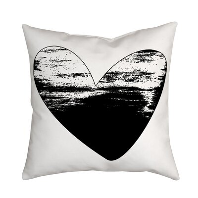 Holiday Treasures Watercolor Sketchy Love Heart Throw Pillow Color: Black