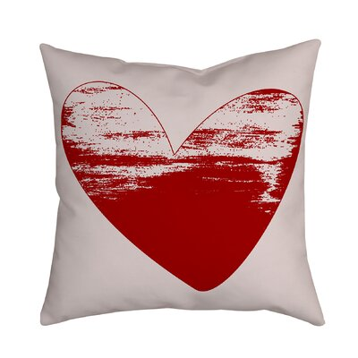 Holiday Treasures Watercolor Sketchy Love Heart Throw Pillow Color: Red