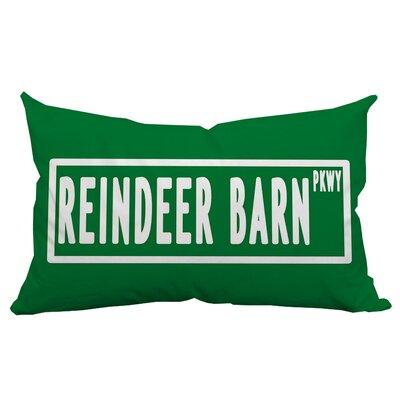 Holiday Treasures Reindeer Barn Textual Indoor/Outdoor Lumbar Pillow