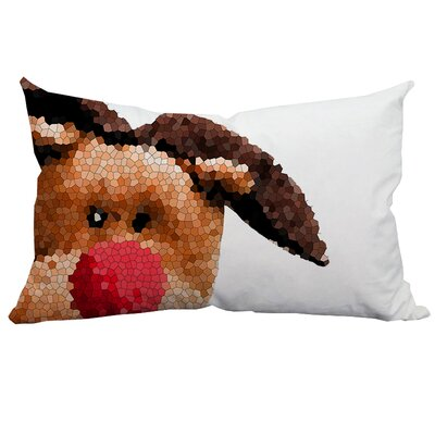 Holiday Treasures Peek-A-Boo Rudolph Christmas Lumbar Pillow