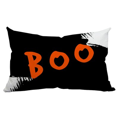 Holiday Treasures Boo Watercolor Textual Indoor/Outdoor Lumbar Pillow