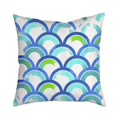 Fish Scales Watercolor Geometric Indoor/Outdoor Throw Pillow Size: 18 H x 18 W x 2 D, Color: Blue