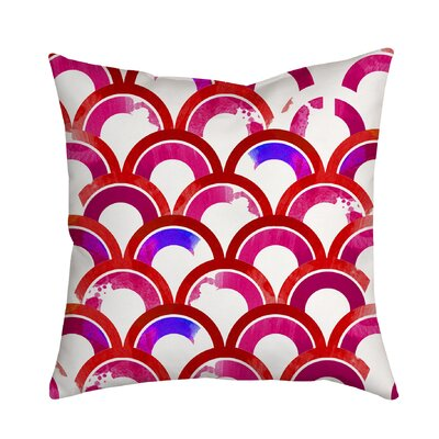 Fish Scales Watercolor Geometric Indoor/Outdoor Throw Pillow Size: 18 H x 18 W x 2 D, Color: Pink