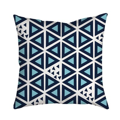 All Tri-Angles Geometric Indoor/Outdoor Throw Pillow Size: 18 H x 18 W x 2 D, Color: Blue