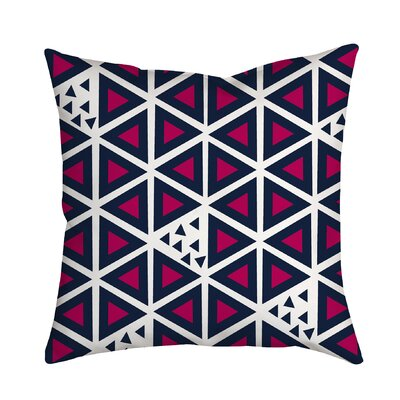 All Tri-Angles Geometric Indoor/Outdoor Throw Pillow Size: 18 H x 18 W x 2 D, Color: Pink
