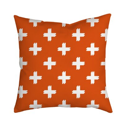 Positively Colorful Geometric Indoor/Outdoor Throw Pillow Size: 18 H x 18 W x 2 D, Color: Orange