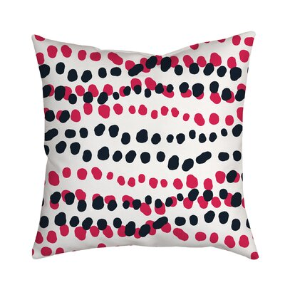 Connect the Polka Dots Indoor/Outdoor Throw Pillow Size: 18 H x 18 W x 2 D, Color: Pink