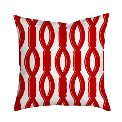 Rope It Throw Pillow Size: 18 H x 18 W x 2 D, Color: Red