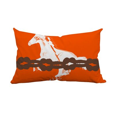 Equestrian Graphic Lumbar Pillow Color: Orange