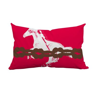 Equestrian Graphic Lumbar Pillow Color: Pink